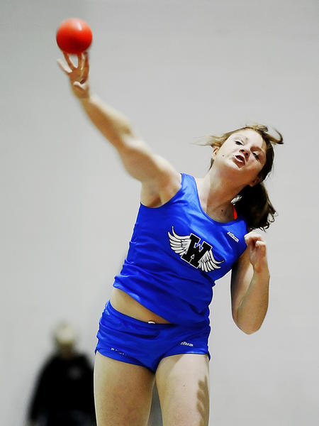 Williamsport's Morgan Oyster won the girls shot put during the MVAL Antietam Championships on Friday at the HCC athletic complex.