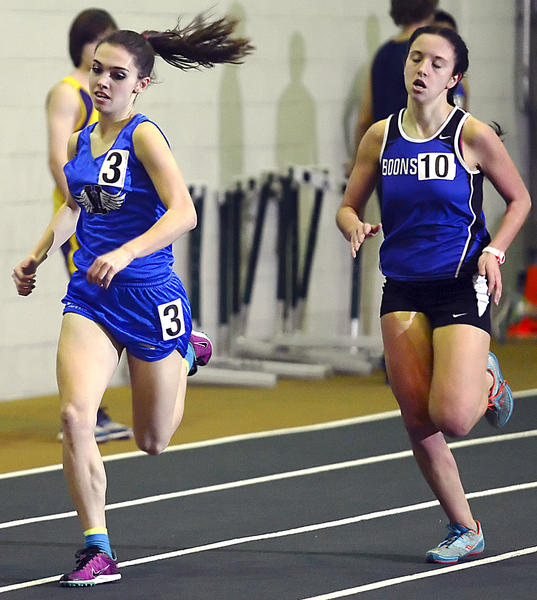 Williamsport's Meggan Grams, left, wins the girls 1,600-meter run ahead of Boonsboro's Kortney Cunningham, who was second, during the MVAL Antietam Championships on Friday at the HCC athletic complex.