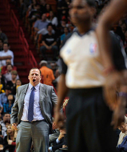Chicago Bulls coach Tom Thibodeau yells at the referees during the first half against the Miami Heat, Friday, January 4, 2013, at AmericanAirlines Arena.
