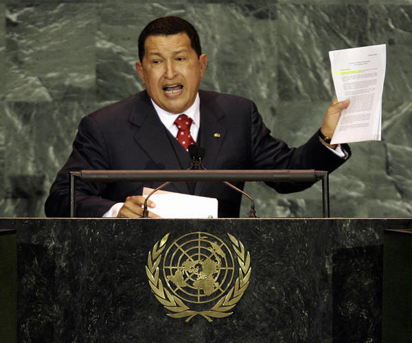 Venezuelan President Hugo Chavez speaks during the 2005 World Summit on Sept. 15, 2005 at the 60th session of the United Nations General Assembly in New York.