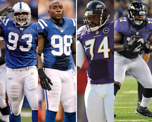 Freeney and Mathis haven't had their typical outstanding years because of injuries, but they have started playing well in recent weeks. Oher and Osemele have struggled against speedy pass rushers. If the Ravens get behind, Oher and Osemele might get into big trouble. <b>Edge: Colts</b>