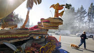 Photo Gallery: La Cañada residents visit the Dino-Soar float at Memorial Park