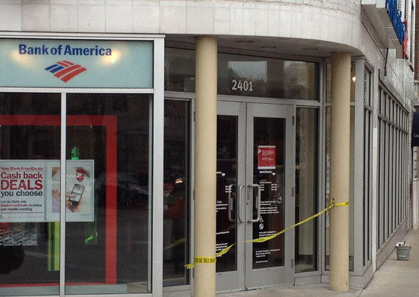 The Lincoln Park Bank of America branch after being robbed this morning.