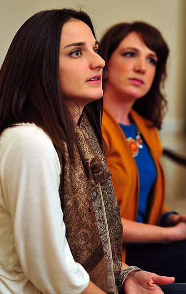 Danielle Campbell, left, and Brooke Johnson advocate a new charter school for Washington County.
