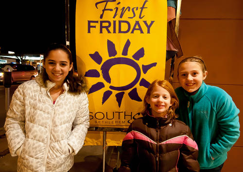 Maddy Healy, 12; Saige Weaver, 7; and Sydney Weaver, 9, of Macungie, made their way to Cleo's in South Bethlehem after the Banana Factory in celebration of the First Friday of 2013.
