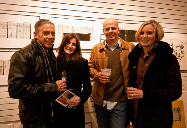(Left to Right) Rich Boorse and Nina Schiavone, of Center Valley, joined Gary and Pamela Riddell, of Bethlehem, for a photography exhibit held at the Banana Factory in celebration of the First Friday of 2013.