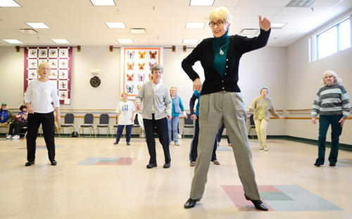 Dance instructor Myra Rosenberger of Kempton leads her class of women in line dancing lessons. Beginning Line Dance class at the Lehigh County Senior Center was held Saturday.