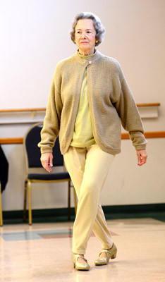 Line dancing student Elizabeth Klein, 82, of Topton practices her steps. Beginning Line Dance class at the Lehigh County Senior Center was held Saturday.