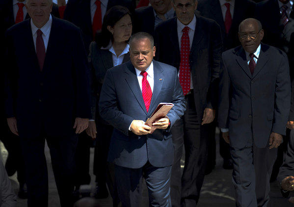 Venezuelan National Assembly President Diosdado Cabello arrives at the National Assembly in Caracas.