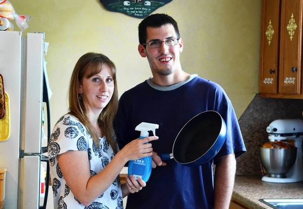 Abby and Wes Weaver, both of Allentown, show us how to make your own non-stick cooking spray.