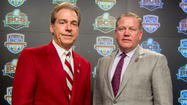MIAMI GARDENS, Fla. — <strong>Nick Saban</strong> and <strong>Brian Kelly</strong> dropped strong hints Saturday they would be coaching at Alabama and Notre Dame beyond Monday night's Bowl Championship Series title game.