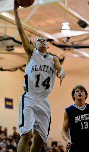 Bangor's Shane Reider (14) looks to score against Salisbury's Dan Reichenbach (13) during a Colonial League boys basketball game held at Bangor Area High School on Saturday evening.