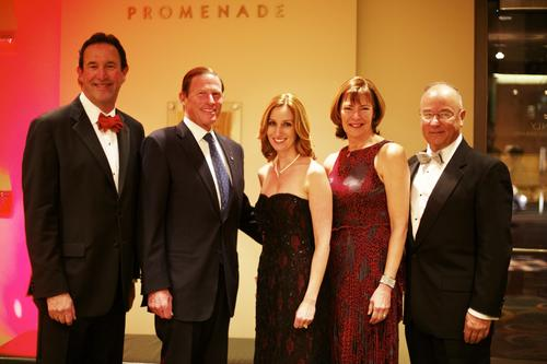 From left: Elliot Joseph, President & CEO of Hartford Healthcare; U.S. Sen. Richard Blumenthal; Lori Flaks; Debbie Klene; Roger Klene, Hartford Hospital Board of Directors; at the 2013 Black & Red fundraising gala benefiting Hartford Hospital's Transplant Program at The Bushnell Center for the Performing Arts in Hartford Saturday evening.
