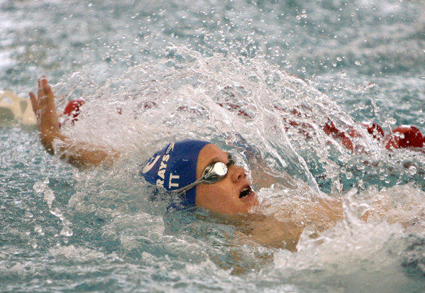 Matthew Grebner, of the Aberdeen Swim Club, swims the backstroke portion of the boys 11-12 100 yard individual medley Saturday at the Aberdeen Winter High Point Meet at the Aberdeen Family YMCA.