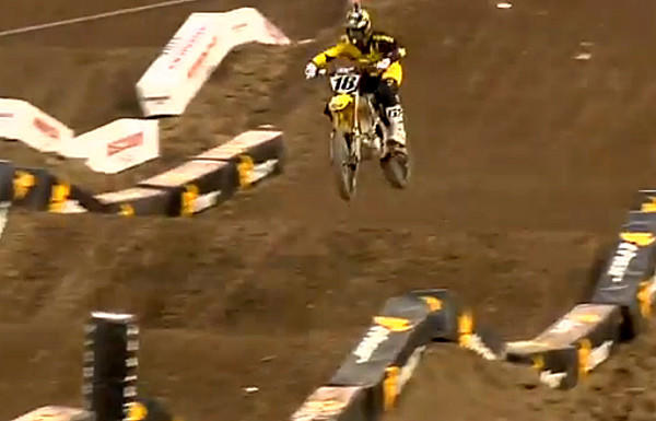 A screengrab of a YouTube video shows David Millsaps during a practice run Saturday in Anaheim.