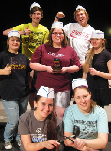 The Aberdeen Central Show Choir will present a chili and soup cook-off Friday. In front, from left, are Taige Tople and Kristen Prosper. In the middle row are Maggie Martinmaas, Aliza Rux and Seleucia Heintzman. The two in back are Tannon Tople and Zach Martinmaas.