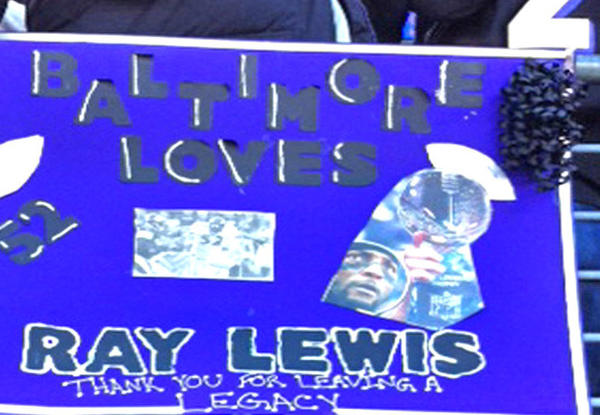 At M&T Bank Stadium, fans on Sunday were expressing their appreciation for Ray Lewis, who was preparing for his final home game.