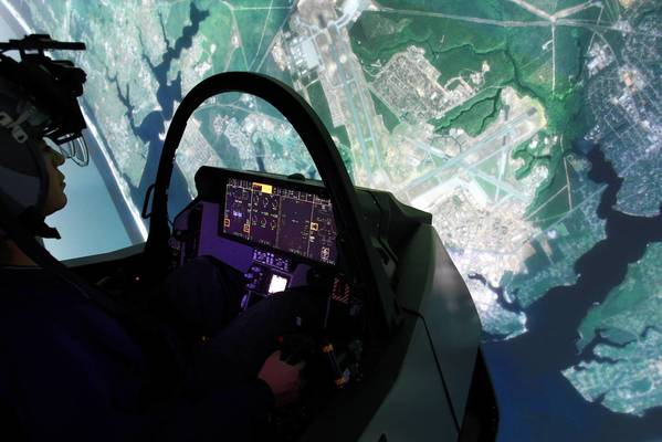 The F-35 advanced fighter jet pilot-training simulator (shown here) has become a major program for Lockheed Martin Corp.'s Orlando simulation-training operation.