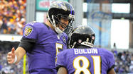 Ray Lewis ran on the field one more time and the man who has written the Ravens' defensive record book had another career first left in him. As quarterback Joe Flacco prepared to kneel down, Lewis jogged about 10 yards behind him and took his place in victory formation.