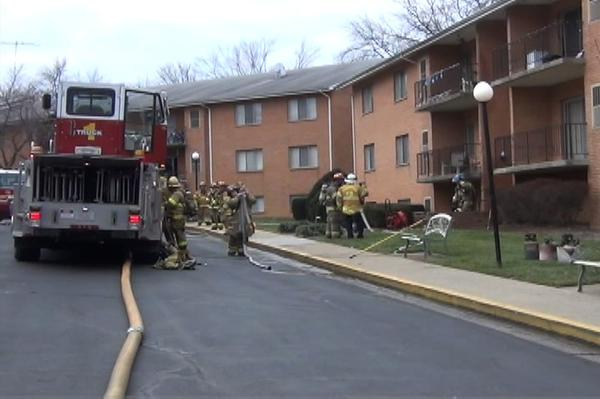 No one was hurt in a fire at Edgewood Apartments off Dual Highway and North Edgewood Drive, but residents from 11 apartments were evacuated while firefighters put the blaze out.