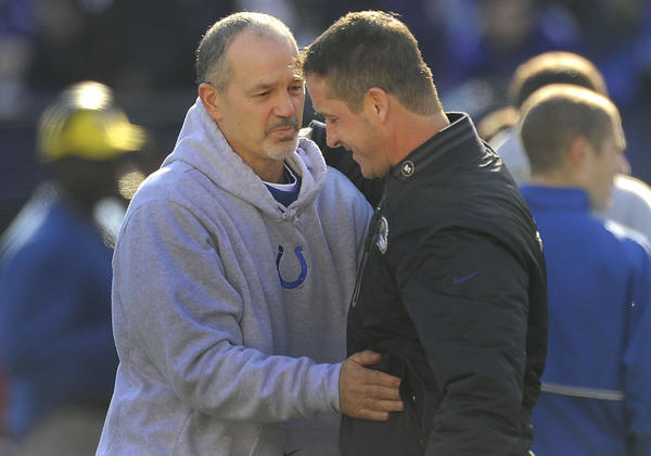 Colts coach Chuck Pagano embraces Ravens coach John Harbaugh before kickoff. Pagano formerly served as Harbaugh's defensive coordinator.