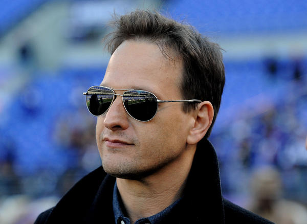 """The Good Wife"" star Josh Charles  on the field before the Ravens-Colts AFC Wild Card game."