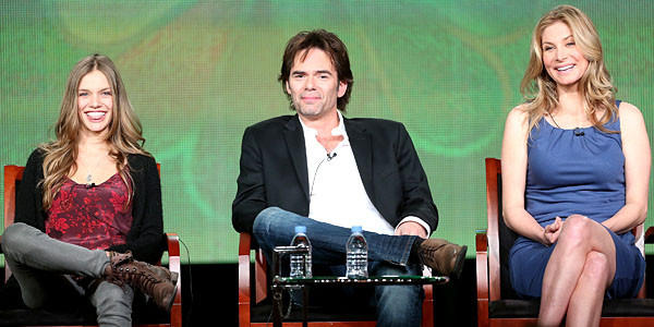 "Actors Tracy Spiridakos, Billy Burke, and Elizabeth Mitchell speak onstage at the ""Revolution"" panel session."