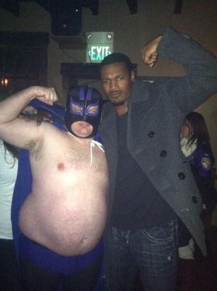 Neal Moorhouse aka Carne Cabeza and Oriole Adam Jones at the Ravens-Colts AFC Wild Card game.