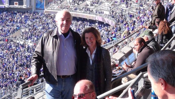 John Brown, RJ Bentley's Restaurant owner, and his wife, Keene Brown, Coldwell Banker real estate agent, were seen at the suite of Ravens' owner Steve Bisciotti.
