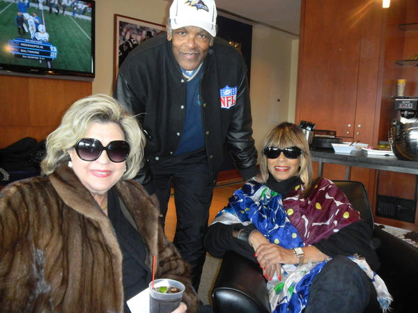 From left: Barbara Brody, University of Maryland social worker, Lenny Moore, former Baltimore Colt, and Adean King, Washington, D.C.-based public relations consultant, were spotted in the Modells' suite.