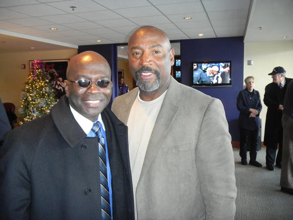 Armstrong Williams, national radio/TV talk show host, left, and Earnest Byner, fomer Baltimore Raven running back and now Tampa Bay Buccaneers running backs coach, were guests in David and Michel Modell's suite.