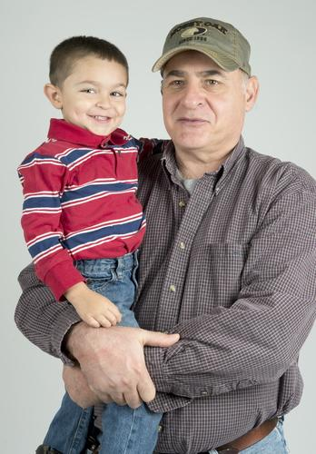 Me and My Grandparent: Gabriel Kiprislis, 3, and  Grandfather Jim Delgrosso, both of Bethlehem, pose in the Morning Call Studio.
