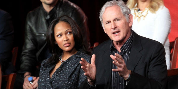 "Actors Meagan Good (L) and Victor Garber speak onstage at the ""Deception"" panel session."