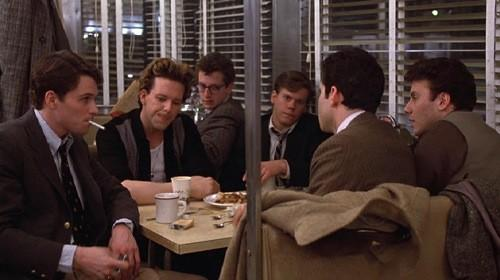 "A scene from the 1982 movie ""Diner,"" with Tim Daly, Mickey Rourke, Daniel Stern, Kevin Bacon and Paul Reiser."