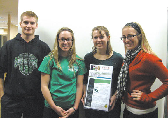 From left, students Sean Kreps, Sarah Elwood, Shannon Bishop and Kayla Stoner are participating in the Race For Awareness at Clear Spring High School.