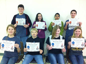 Roncalli hosted a Mathcounts competition for seventh- and eighth-graders on Dec 12. The eighth-grade team winners were, back row from left: Holgate, second place ¿ John Prosper, Julia Friedrichsen, Hamza Jamal and Daniel Sharp. Front row from left: Groton, first place ¿ Gabbie Kramer, Landon Marzahn, Keri Pappas and Erin Smith.