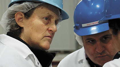 Temple Grandin, left, and Jerry Bennett, Northern Beef Packers vice president of food safety and quality assurance, toured the beef plant during Grandin's visit in December.