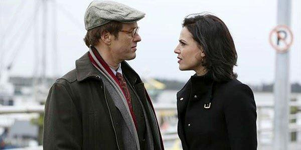 Regina is accused of murdering one of the town's most beloved fairy tale characters. Pictured are Raphael Sbarge (Jiminy Cricket) and Lana Parrilla (The Evil Queen).