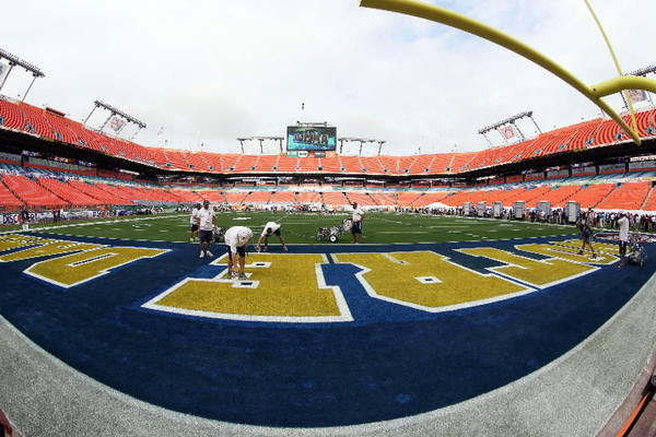 general view as grounds crew members spray paint the Notre Dame Fighting Irish logo in the end zone during media day for the 2013 BCS Championship game at Sun Life Stadium. Mandatory Credit: Brian Spurlock-USA TODAY Sports