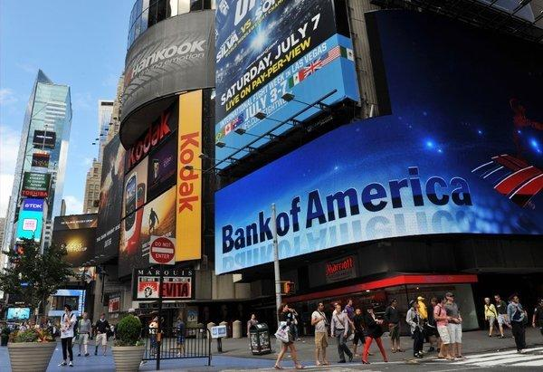 A Bank of America in New York's Times Square.
