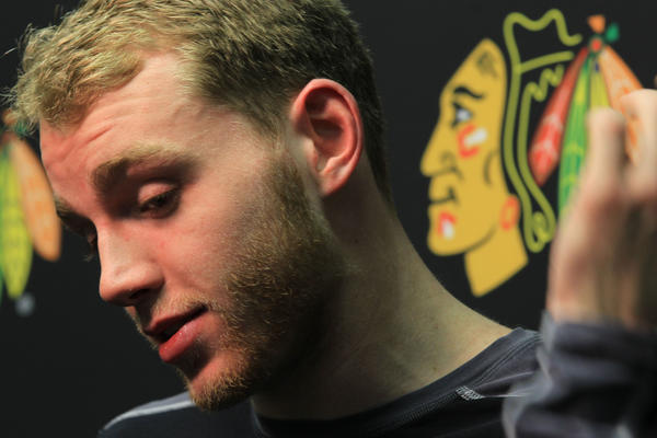 Patrick Kane answers questions after last season's playoffs.