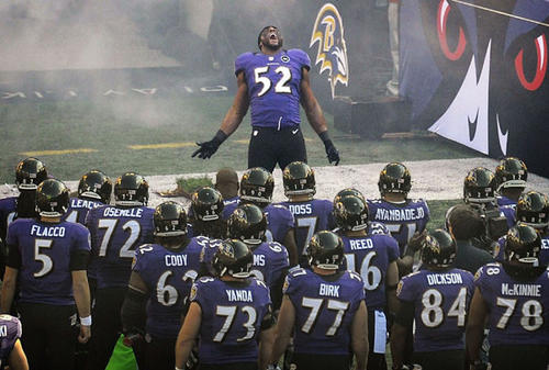 "The celebration had already started as Ray Lewis and fellow linebacker Brendon Ayanbadejo made the short drive to M&T Bank Stadium for the last time that Lewis, at least as an active player, would ever walk into the house he has protected all these years. Ravens fans all across the spectrum dusted off their No. 52 jerseys, leaving newer, less-faded ones of teammates a decade younger in their closets. A billboard thanking Lewis for 17 years of passion was erected within walking distance of the stadium. On his way into his house, Lewis passed through a tunnel of purple, dozens of fans yelling out his name while reaching out to put their fingertips on the living legend's crisp black suit.<br> <br> As he warmed up on the field before the game, the stadium was uncharacteristically filled as fans folded up their tailgates early to take in the scene. After bumping into offensive linemen Matt Birk and Marshal Yanda, he walked over to the sideline, where he wrapped his arms, glistening with sweat, around the greatest Olympian of our -- and probably any -- lifetime, Michael Phelps, who credits Lewis for inspiring him to win another half dozen gold medals last year. Lewis crouched in the middle of a ring of Ravens players, screaming out a battle cry as young players such as Torrey Smith, Arthur Jones and Anthony Allen listened intently. After hugging Smith, guard Bobbie Williams and linebacker Terrell Suggs, Lewis was the last of the Ravens off the field, and his descent to the locker room was stalled by more embraces with NFL Commissioner Roger Goodell, NFLPA head DeMaurice Smith and Under Armour founder Kevin Plank. An NFL Films camera crew, which strapped a microphone to Lewis Sunday, trailed him all the way.<br> <br> About an hour later, nearly every cell phone in the bleachers was being held in the air as the defensive starters were announced. Finally, after safety Ed Reed bolted out of the tunnel, it was time for maybe the most anticipated moment the stadium had ever seen. Nelly blared. Fireworks burst. Goosebumps crept their way up the arms and legs of everyone in the building, from fans -- including Mayor Stephanie Rawlings-Blake, Orioles All-Star Adam Jones, Phelps, and actor Josh Charles -- and impartial media members to his Ravens teammates and their opponents. As Lewis did his signature pre-game dance one last time, the stadium was as loud as it has ever been, at least before an opening kickoff had been booted.<br> <br> And believe it or not, Lewis played better than expected, especially considering the 37-year-old had missed the past three months with a torn right triceps, one that was supported Sunday by a black arm brace that looked like something out of ""Iron Man."" The Indianapolis Colts felt his presence early when Lewis barged into the backfield and tackled running back Vick Ballard for a loss. He would record a game-high 13 tackles and he would later lament dropping an easy interception on a tipped pass. But his return no doubt inspired his teammates one more time, though it won't be the last. With the 24-9 win, the Ravens advance to play the Denver Broncos in the divisional round Saturday. Fifty-two ain't done yet.<br> <br> But this was the last time we will see Lewis, up close and personal, at M&T Bank Stadium, where he has poured his heart out for years. Because of that night in Atlanta more than a decade ago, Lewis will leave behind a complicated legacy, but it has been an honor to cover Lewis the player, arguably the greatest middle linebacker in football history. And you can't deny the impact that Lewis has had on the city of Baltimore, which said goodbye the right way Sunday. It was obvious that the outcry of love, thanks and appreciation touched Lewis, as a combination of sweat and tears smeared his eye black as he did a victory lap around the stadium after the game. ""Everything I did to get back, if it wasn't for my team, it was for my city,"" Lewis said after the game. ""If my effort can give you hope, faith or love, then so be it. I'll give everything I have."" You have, Ray, and your city, inspired one last time, loves you for it."