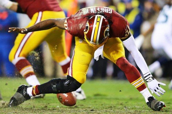 Robert Griffin III injured his knee on this play.