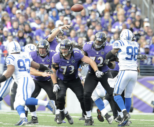 "As the M&T Bank Stadium crowd still buzzed Sunday after the return of Ray Lewis, the 6-foot-8 offensive tackle nearly snuck out on the field without being noticed. But there was Bryant McKinnie, an offseason of drama and a season of inactivity behind him, lumbering out on the field for his first start of the season. For whatever reason, Ravens head coach John Harbaugh had been reluctant to make the move that would be perceived as pushing the panic button when it comes to his inconsistent offensive line. But finally, with offensive guard Jah Reid out with a toe injury and Bobbie Williams getting exposed at times this season, Harbaugh inserted McKinnie at left tackle, triggering a chain of needed roster moves that shifted Michael Oher back to right tackle and moved rookie Kelechi Osemele to left guard. You can argue that this move should have been made months ago -- I know I did in this space back in October -- but the reality is that if Harbaugh thought this switcheroo would help him win then, he would have done it.<br> <br> Harbaugh made the move Sunday, and it paid off in a 24-9 win over the Indianapolis Colts. It must be acknowledged that the Colts defense, which is in the middle of a challenging personnel overhaul to Chuck Pagano's hybrid 3-4 scheme, was statistically one of the NFL's worst. The Colts struggle to stop both the run and the pass, and pass rushers Dwight Freeney and Robert Mathis combined for just 13 sacks this year. That being said, the remodeled offensive line played well Sunday, paving the way for 172 rushing yards at 5.4 yards per pop and allowing quarterback Joe Flacco to get sacked just once (on what I'm pretty sure was a designed rollout that knowingly left Flacco exposed). Flacco was hit just twice, and he usually had a few seconds to look for open receivers as they ran vertical routes deep down the field.<br> <br> Given how well the offense performed -- the Ravens averaged 7.9 yards per play -- and the fact that they play the same Denver Broncos who pummeled Flacco a few weeks ago, you have to figure they will trot out the same starting five on Saturday. This group, with McKinnie at left tackle and Oher on the right, gives the Ravens the best chance to pull off the upset. Don't ask me. Ask center Matt Birk, who admitted after Sunday's win that ""it's the best situation for us as an offense to have those five guys out there."" We will see if Harbaugh agrees, but after he looks at the game tape Monday, I can't imagine he won't."