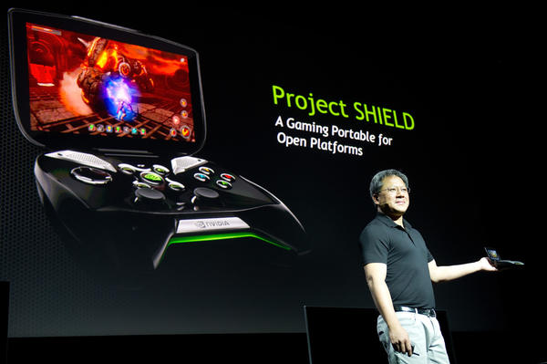 Jen-Hsun Huang, Nvidia CEO, shows off Project Shield, an Android-based gaming device.