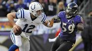With zero touchdown passes, one interception and three sacks, quarterback Andrew Luck finished with a 59.8 passer rating in the Indianapolis Colts' 24-9 loss to the Ravens in Sunday's AFC Wildcard playoff game.