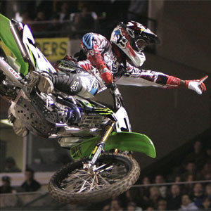 James Stewart competes at Angel Stadium in 2007.