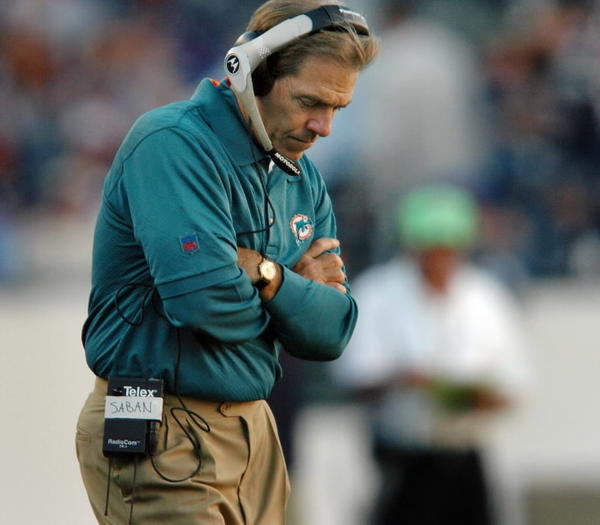 Nick Saban, former Miami Dolphins coach, heads to big game tonight as coach of the Alabama Crimson Tide.