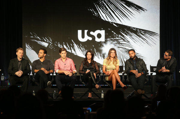 """Graceland"" creator/executive producer Jeff Eastin, from left, with actors Daniel Sunjata, Aaron Tveit, Vanessa Ferlito, Serinda Swan, Brandon Jay McLaren and Manny Montana during the USA portion of the 2013 Winter TCA Tour."