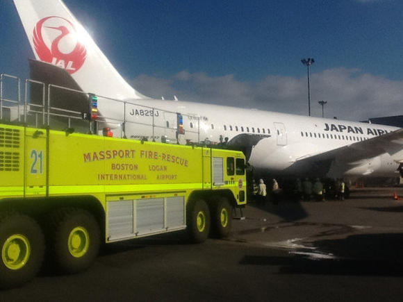Firefighters at Logan International Airport put out fire on 787 Dreamliner.